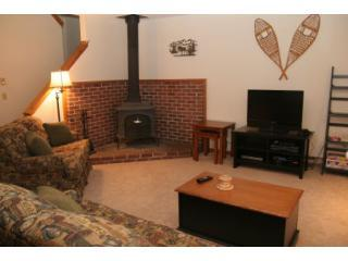 Cozy gas log stove and flat screen TV makes for great family gatherings.