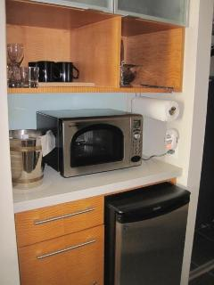 Many conveniences provided in this kitchenette including starter beverage supplies(coffee,teas,etc)