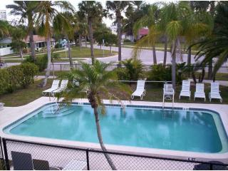 The pool is kept heated year-round.