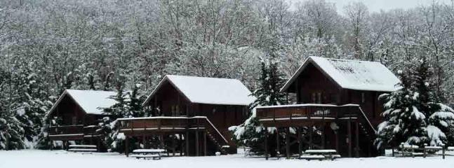 Snow fall at cabins