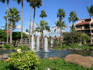 Resort entrance with three sets of fountains
