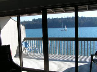 Water view from living room, kitchen and two bedrooms