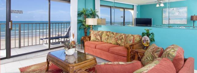 "Living room with Oceanview, Balcony, 50"" LCD TV, DVD and Sleeper Sofa"