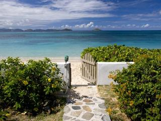 This beachfront villa is designer decorated, with a professional grade kitchen. VG BEA, Virgin Gorda