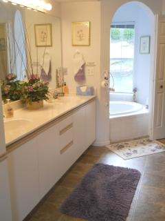 Master bath with separate jacuzzi tub, walk-in shower, double vanity sinks.