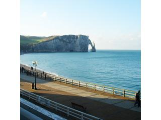 Etretat Beach and the famous \'Aiguille Creuse\' and cliffs