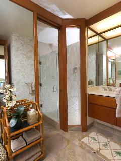 New enlarged master shower with tropical flora etched glass