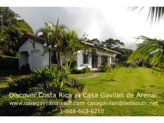 This is the front of Casa Gavilan with the jungle behind, and Lake Arenal in front
