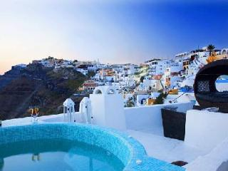 Clifftop Blue Angel Villa offers pool, exceptional views & modern amenities - Fira vacation rentals