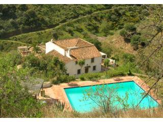 From high above the pool looking down to the farmhouse and terraces.