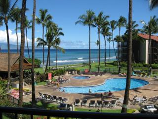 you can hear the ocean in our unit, plus you get the evening view of the tiki torches and pool