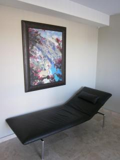 Daybed in the office. Artwork - painting of the Amalfi Coast
