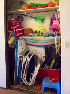 Large closet full of toys and beach gear!