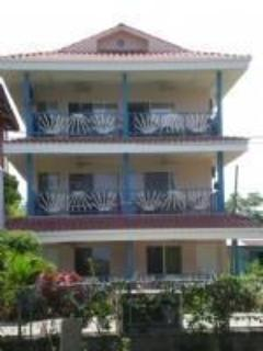 Exterior of Cabana Beach Condos, this listing is Condo #2, garden level on right side of building. - Bright 'n Breezy Ocean View Condo - Bocas Town - rentals
