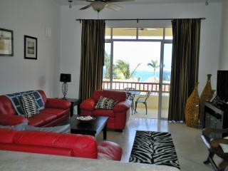 Living room with ocean views and plasma TV