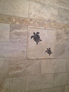 Deco turtles in our new luxurious shower