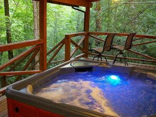 Secluded Log Cabins with Hot Tub Near Chimney Rock