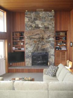 Fireplace and widescreen TV