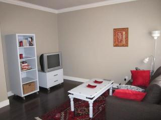 Living room with double sofabed, TV and cabinet