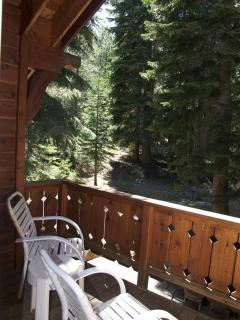 The second floor balcony, is yet another place to sit and enjoy the peaceful forest surroundings.