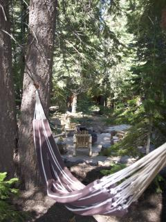 Perfectly situated in a peaceful ring of towering evergreens - the hammock!        is