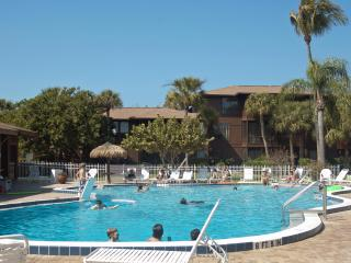 The outdoor pool is heated for year round use.