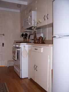 Full galley-style kitchen with gas range