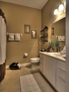 Guest bathroom with tub/shower/toilet area