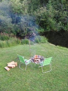 Firepit next to the dam.