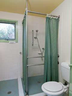 Bathroom showing shower & toilet