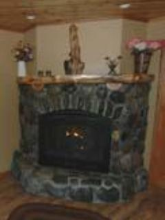 River Rock Fireplace in the Living Room