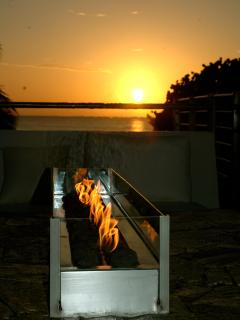 rooftop firepit at sunset