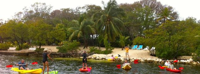 The fleet out for an adventure. All Kayaks and paddle boards shown come with the ho