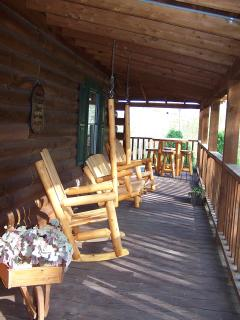 Porch with pine furniture
