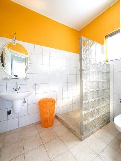Private bathroom with orangebedroom