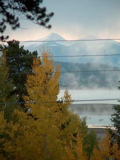 Close up shot of Byer's Peak and Aspen from lakeside yard of Cabin
