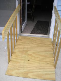 A portable wheel chair ramp is available for our guests.  Just ask, and we\'ll install it for you!
