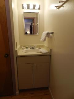1/2 bath with sink and toilet