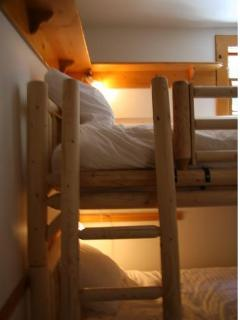 Small room with bunk beds, sleeps two in this room
