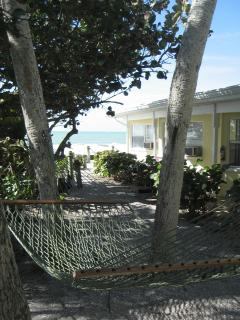 Swing your cares away in our seaside hammock among the palms. The sound of the surf is soothing!