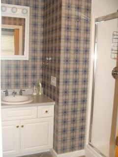 Second floor bath, shower area, can be closed off from toilet area. Sinks on both sides.
