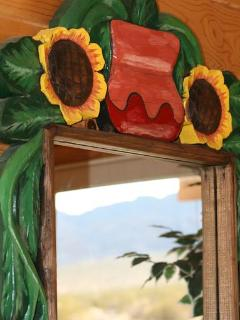 Hand carved/painted mirror frame