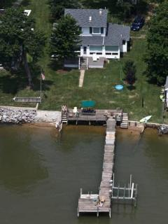 Aerial View of Cobb Island Waterfront House