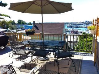 Large deck overlooking harbor, seating for 6. Weber gas grill.