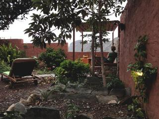 Viewpoint of the garden and sun loungers