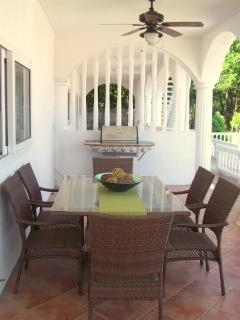Stainless BBQ, celing fans, and large dining table