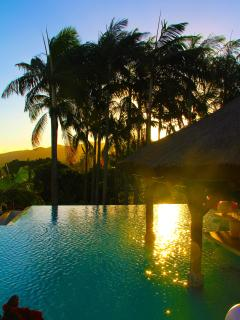 The pool at Sunset overlooking the mountains.