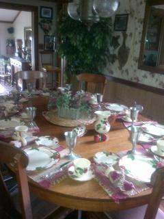 dining room table, set and ready for you to come and dine!