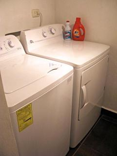 Brand new washer and dryer with laundry supplies provided
