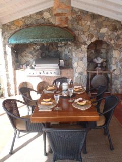 Gas grill set in beautiful stone arch